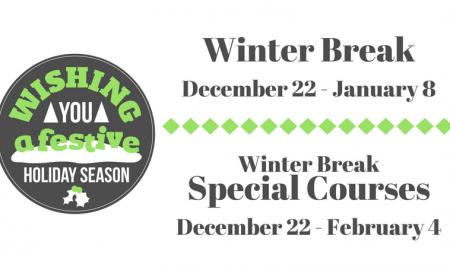 2016 Winter-Break Special Course Schedule